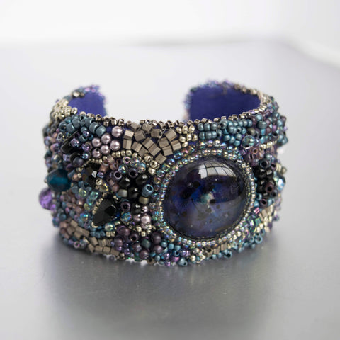Purple Blue Moon Beaded Cuff Bracelet Handmade Jewelry