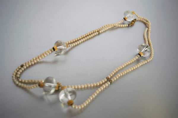 Art Deco Flapper Pearls Long Necklace