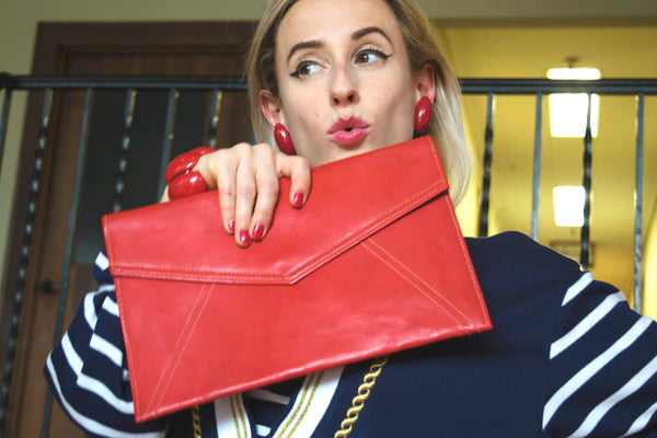 Red Clutch Envelope Bag Contemporary Accessories