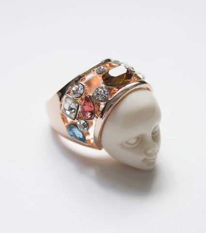 Exquisite Ring Carved Faux Ivory Face Ring Jewelry