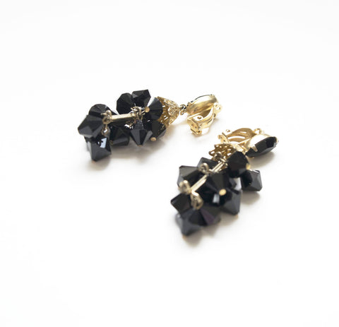 Lewis Segal California Jet Black Crystals Clip on Earrings Vintage Jewelry