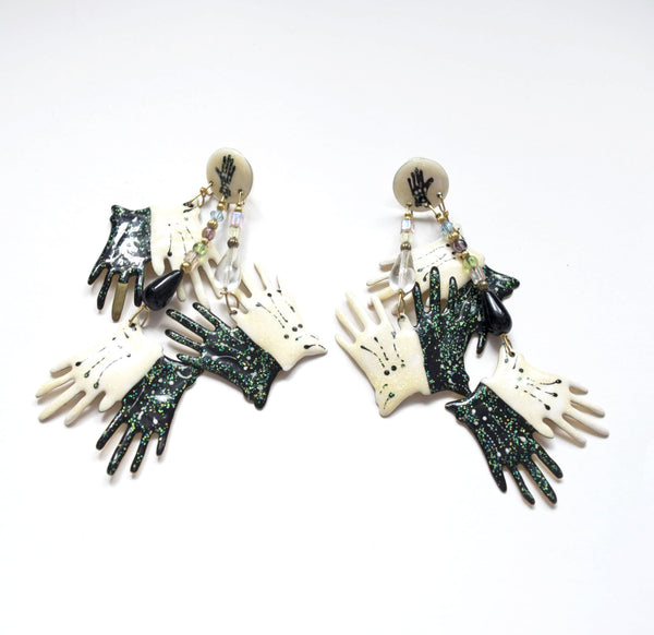 Lunch at the Ritz 88 Black White Hand Gloves Earrings Costume Vintage Jewelry
