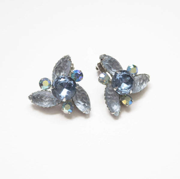 Blue Crystals Clip on Earrings Vintage Costume Jewelry