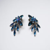 Vintage Jewelry Set Blue Crystals Brooch Pin Clip on Earrings