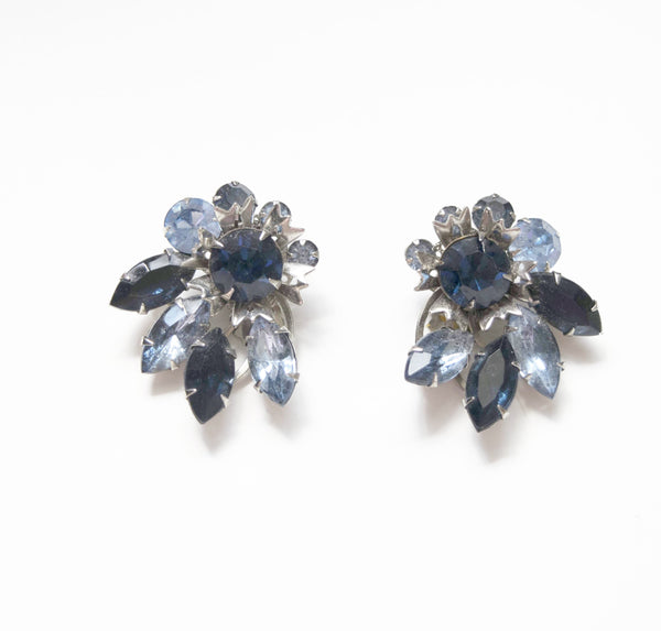 Blue Crystals Floral Clip on Earrings Crystals Vintage Jewelry