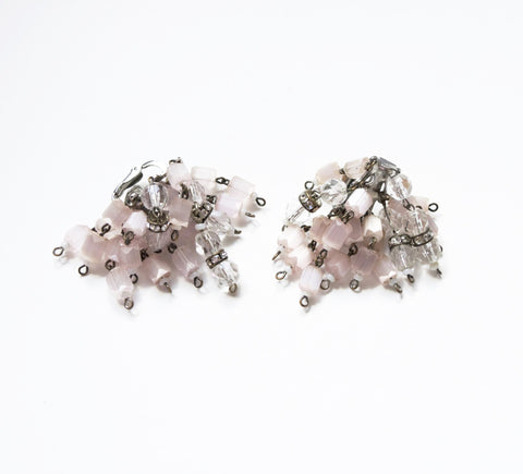 Castlecliff Pink Crystals Dangling Clip on Earrings Vintage Jewelry