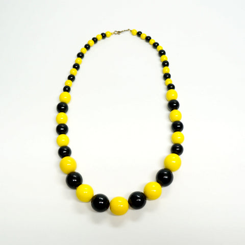 Yellow Black Wooden Necklace Vintage Handmade Jewelry