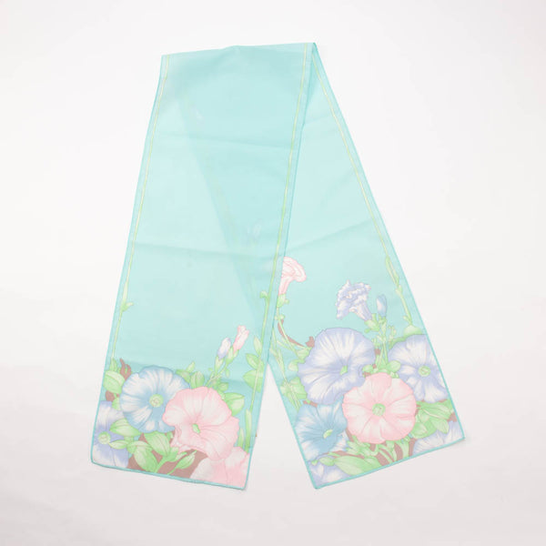 Avon Aqua Floral Silkscreened Scarf Vintage Accessories made in Japan