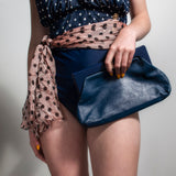 Navy Italian Leather Clutch Bag Vintage Accessories