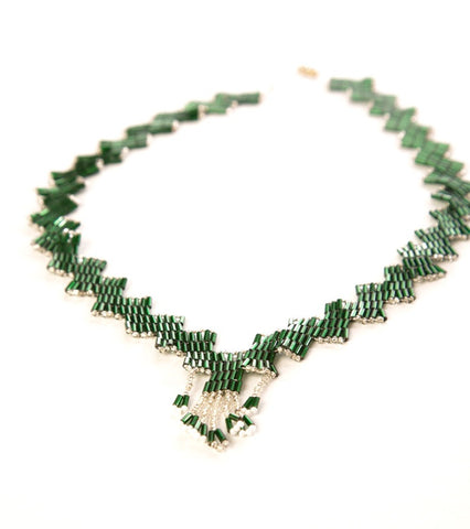 Handmade Vintage Jewelry Ethnic Marvelous Emerald Green White Silver Beads Ornate Clasp