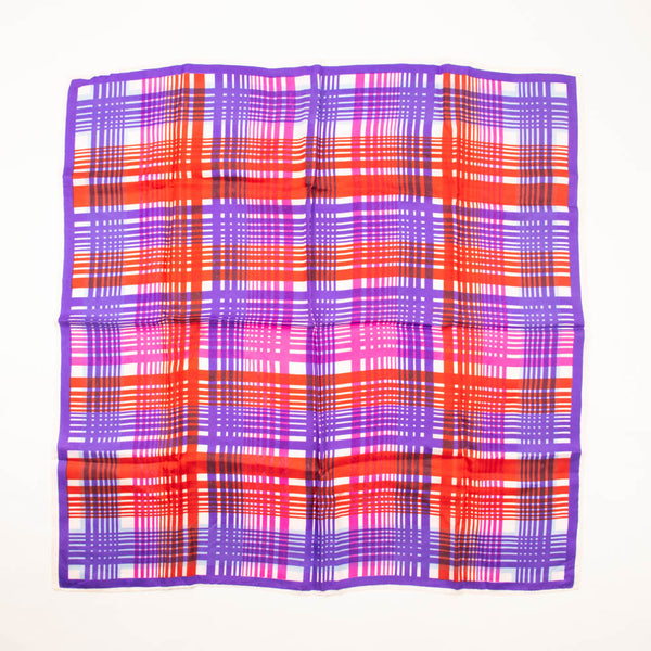 Red Pink Purple Plaid Retro Scarf Vintage Accessories
