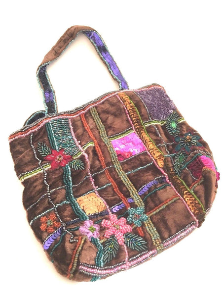 Boho Beaded Colorful Little Tote Bag Darling Flowers embroidered velvet purse
