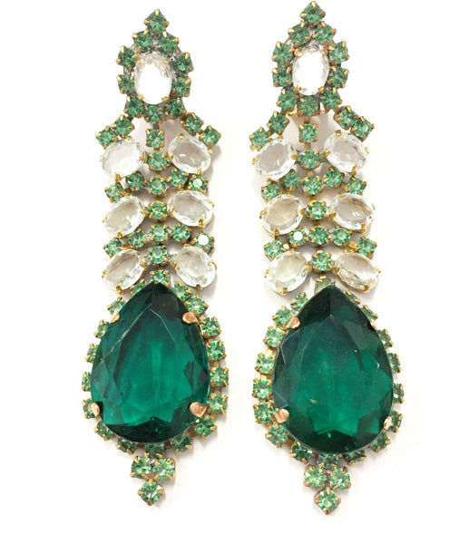 Emerald Green Dangle Earrings Czech Bijoux Vintage Jewelry