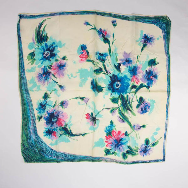 Hand Painted Floral Scarf Vintage Accessories