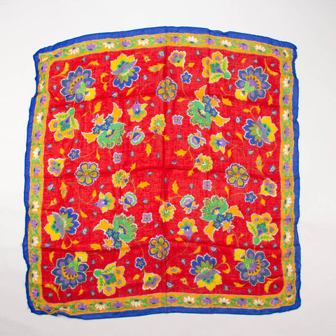 Colorful Floral Scarf Vintage Accessory