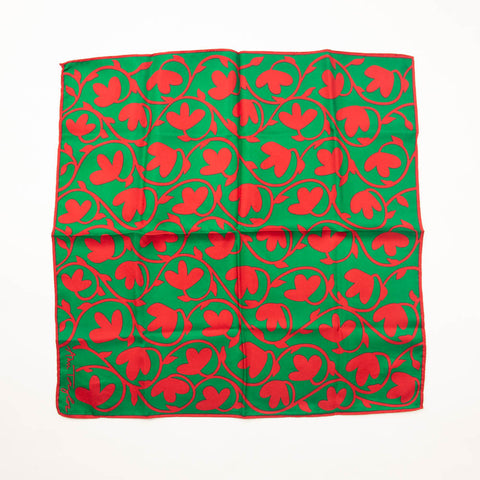 Ann Taylor Floral Silk Scarf Red Green Bandana Accessory