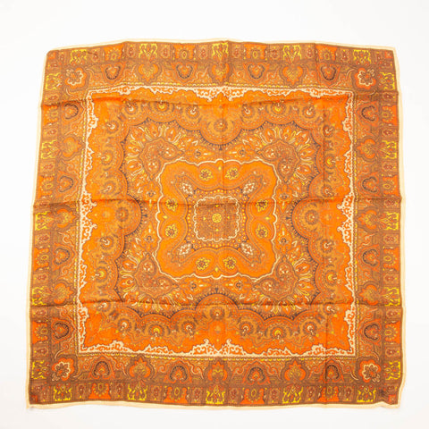 Orange Paisley Scarf Vintage Accessory