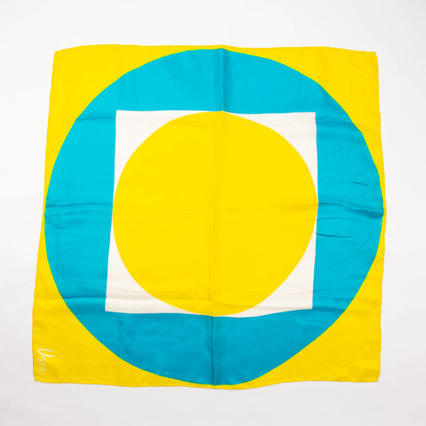 Vera Yellow Geometric Scarf Vintage Accessory
