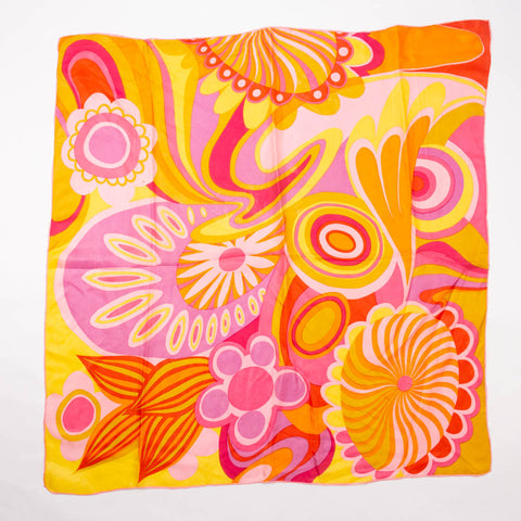 Groovy 70s Flower Scarf Vintage Accessory