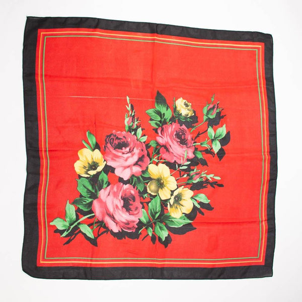 Floral Rose Flower Scarf Vintage Accessories