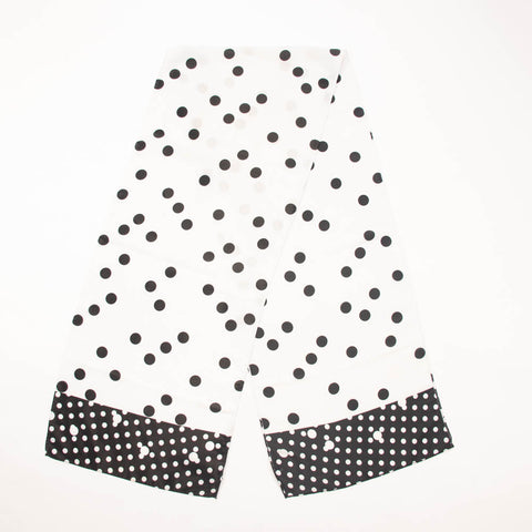 Black and White Polka Dots Vintage Scarf Accessory