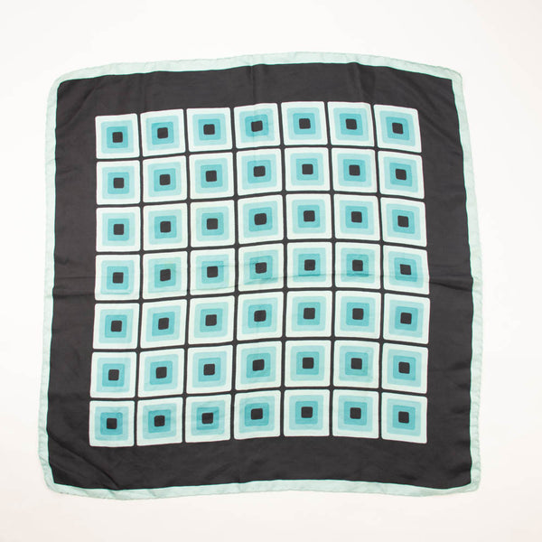 Blue Squares Modernist Silk Scarf Vintage Accessories