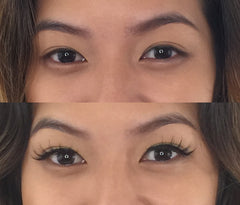 Before and After applying False Eyelashes