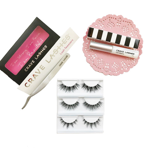 Lengthening lash starter set includes 3 lengthening lashes plus glue and tweezers