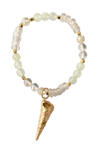 CONE SHELL AMULET + PREHNITE, QUARTZ & CITRINE INTENTIONS BRACELET