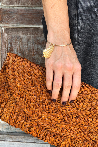 Samara Woven Straw Clutch Bag - Rust