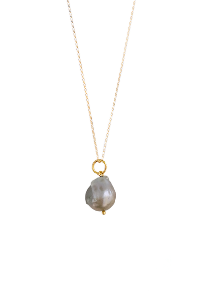 SILVER BAROQUE PEARL AMULET