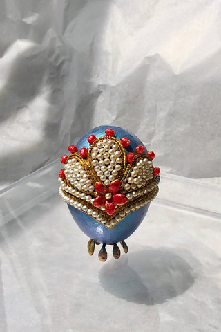 FEHMI JEWELLED EGG - AZURE
