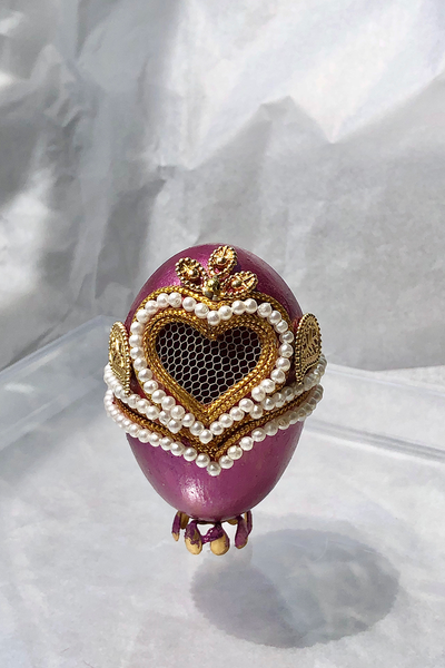 FEHMI JEWELLED EGG - MAUVE HEART