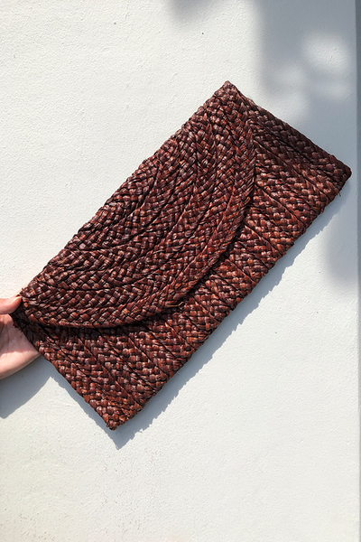 Samara Woven Straw Clutch Bag - Brown
