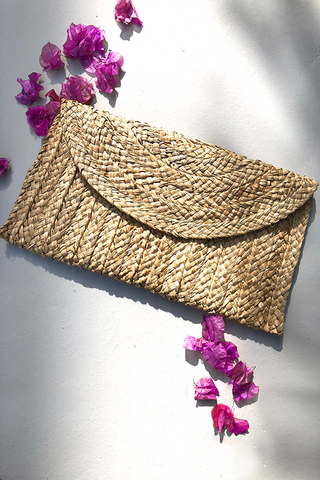Samara Woven Straw Clutch Bag - Natural