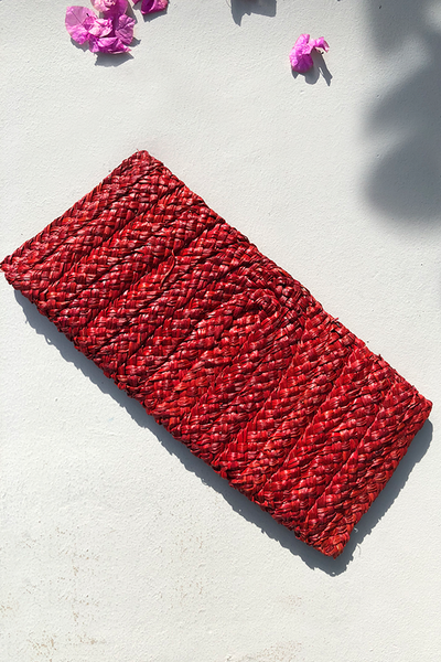 Samara Woven Straw Clutch Bag - Red
