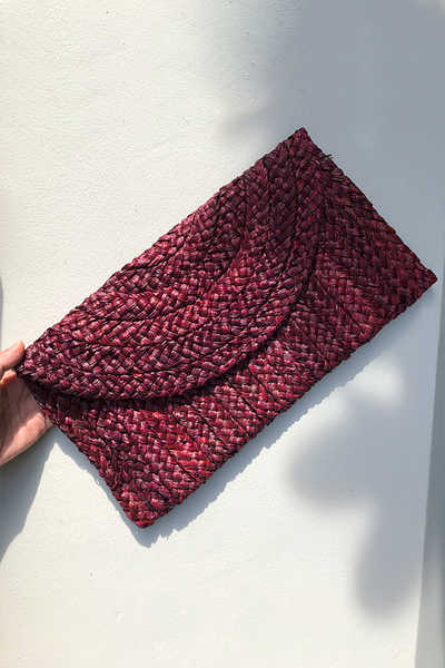 Samara Woven Straw Clutch Bag - Wine
