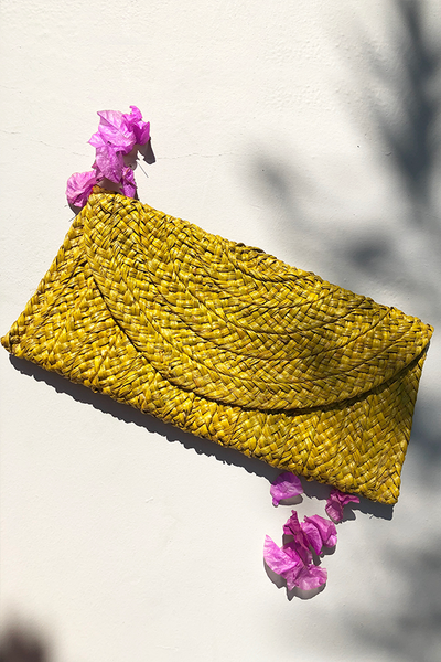 Samara Woven Straw Clutch Bag - Yellow