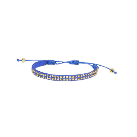 Royal Blue Leather Stud Bracelet - Wayuu Give Bracelets - 1