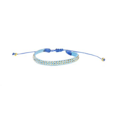 Sky Blue Leather Stud Bracelet - Wayuu Give Bracelets