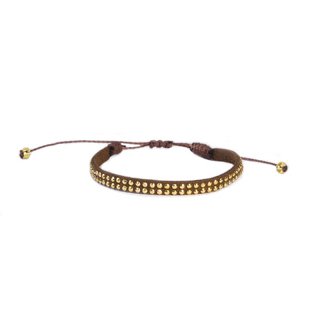 Cafe Brown Leather Stud Bracelet - Wayuu Give Bracelets - 1
