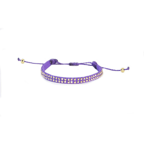 Purple Leather Stud Bracelet - Wayuu Give Bracelets - 1