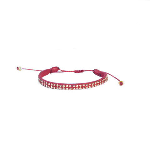 Red Leather Stud Bracelet - Vakano Bracelets -
