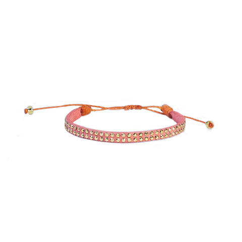 Salmon Orange Leather Stud Bracelet - Wayuu Give Bracelets - 1