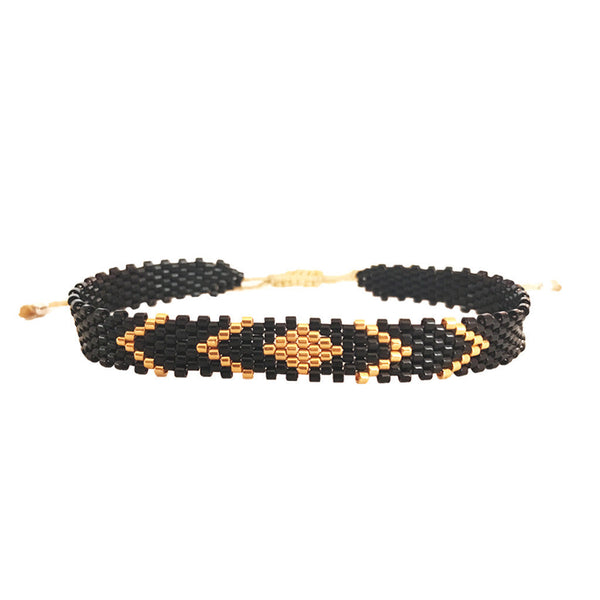 Black Knight Gold and Black Beaded Bracelets Handmade by Vakano Bracelets in Colombia