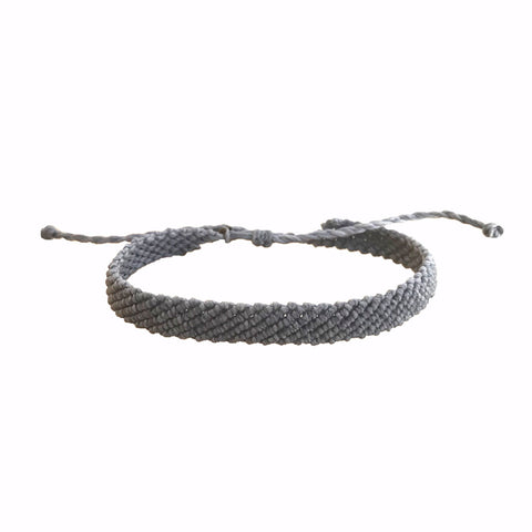 Grey Macrame Braided Mens Bracelet | Wax Bracelet | Handmade Vakano Bracelets from Colombia | Waterproof