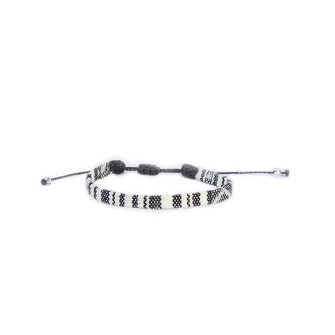 Inka Striped Mini - The Inka Caribbean Handmade Vakano Bracelet from Colombia Black and white