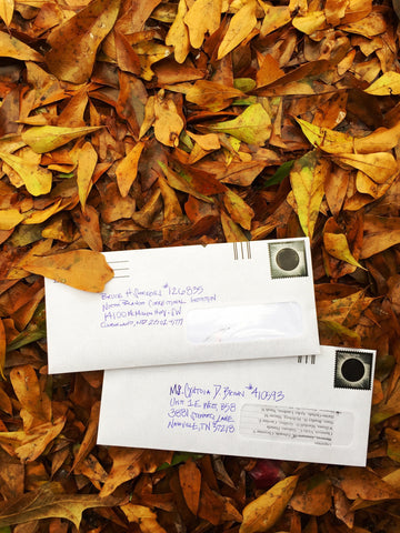 upcycled envelopes and paper for zero waste letter writing