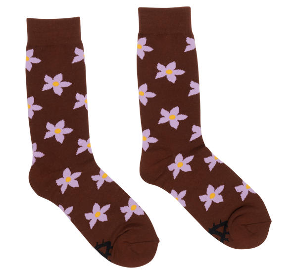 BROWN FLOWER SOCKS