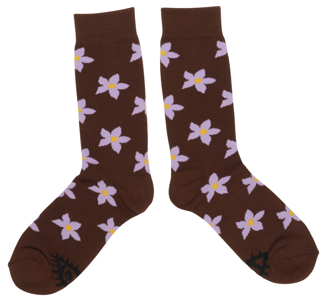 Flower Socks (Brown)